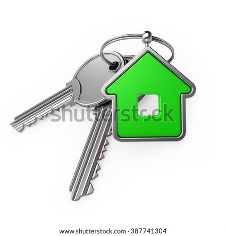 house and key, on a white background, 3d render