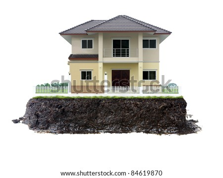house and land isolated on white - stock photo