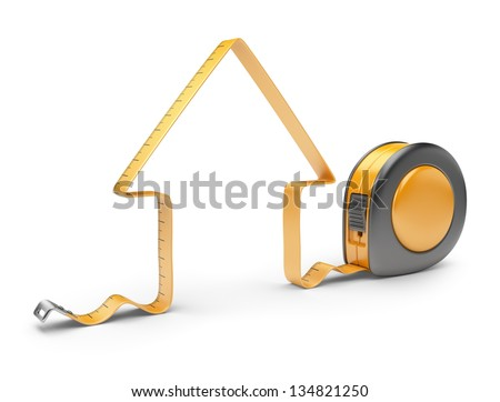 House and measuring tape 3D. Construction tool. Icon isolated on white background - stock photo