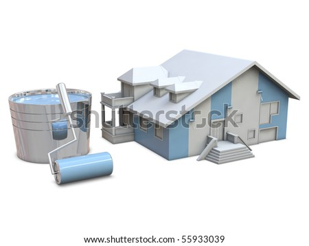 House and paint rollers isolated on white background - stock photo