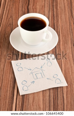 House and the people on a napkin and cup of coffee - stock photo