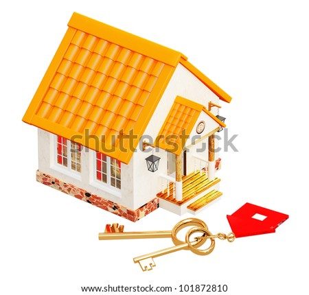 House and two gold keys. Objects isolated over white - stock photo