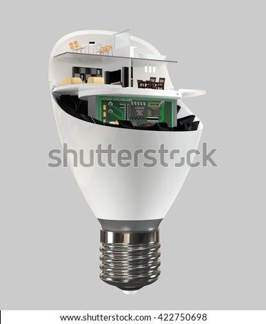 House appliances and furniture in a LED light bulb. Ecology life concept. 3D rendering image. - stock photo