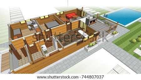 house, architectural sketch, 3d illustration