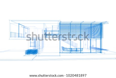house architecture 3d illustration