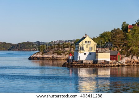 House at the water - stock photo