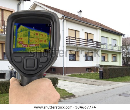 House Basement Thermal Imaging Analysis - stock photo