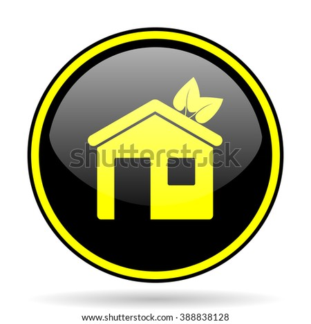 house black and yellow modern glossy web icon - stock photo