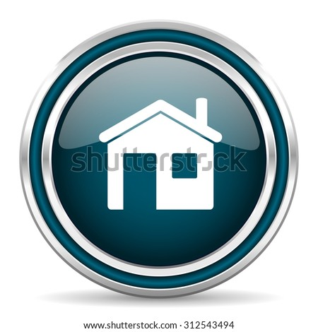 house blue glossy web icon with double chrome border on white background with shadow    - stock photo