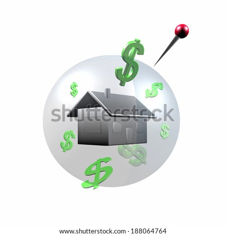 House bubble in 3D isolated on a white background - stock photo