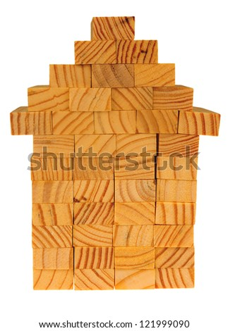 House build with wooden blocks, isolated on background - stock photo