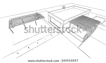 house building architectural sketch