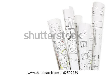 House building, building plans - stock photo