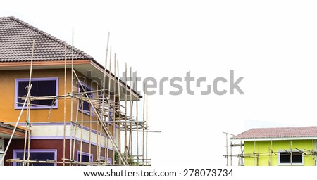 House building & Construction Site. White background - stock photo