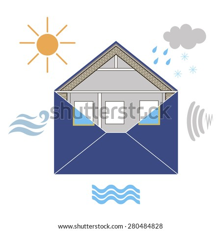 House Building Envelope Energy Efficiency Weatherization resistance to Wind air Water Sun heat light, Noise, Rain transfer Construction standards enclosure Home insulation Thermal symbolic info - stock photo