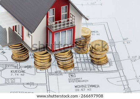 house building plan, symbolic photo for house construction, financing, building society - stock photo