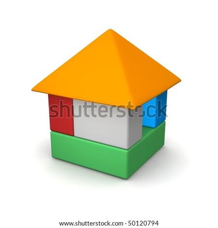 House built of color blocks. 3d rendered illustration. - stock photo