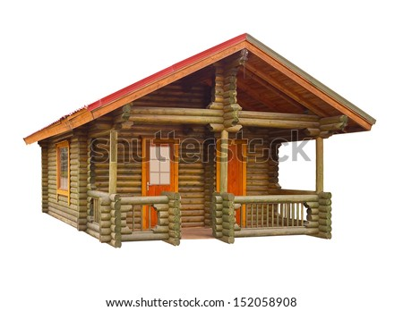 House built of logs on a white background