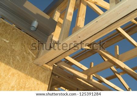 House buliding wooden frame work - stock photo