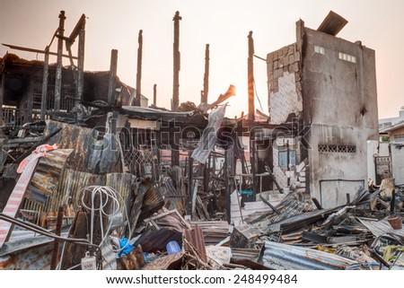 house burn - stock photo