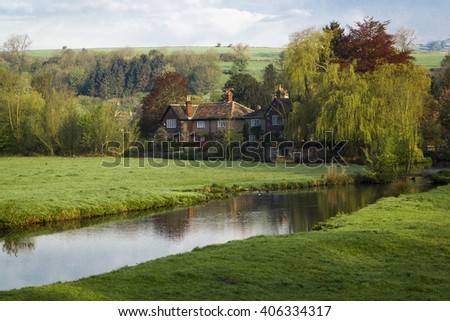 House by a river in the English countryside, near Peak District