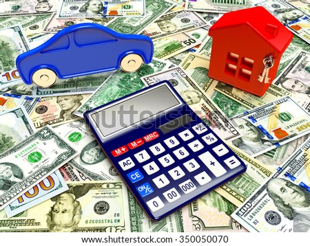 House, car and calculator on background of dollar bills