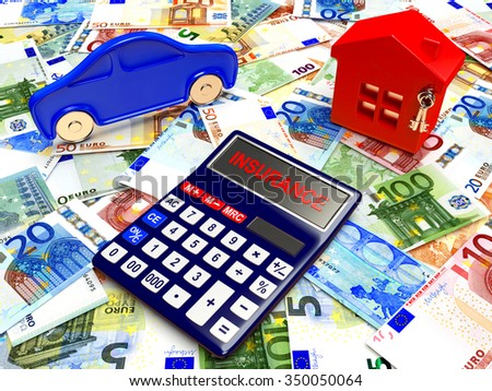 House, car and calculator on background of Euro bills