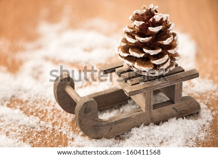 House christmas decoration and snowed cone - stock photo