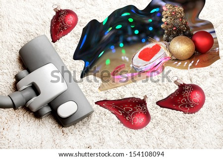 House cleaning after christmas - stock photo