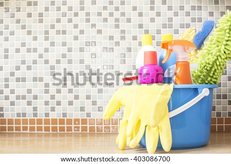 House cleaning product on the table - stock photo