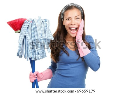 House cleaning woman happy and surprised. Isolated on white background. - stock photo