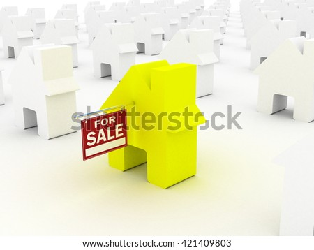 House colored  for sale, 3D rendering