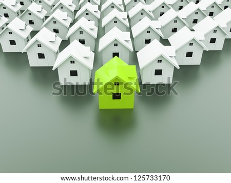 House concept rendered one is green - stock photo