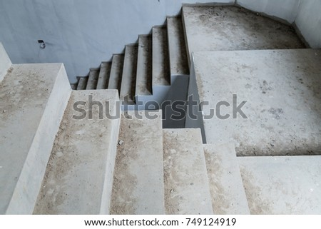 House Construction Concept With Cement Concrete Stair