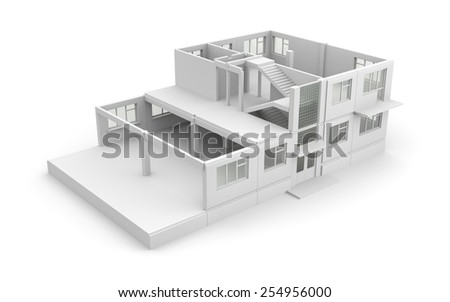 House construction process - stock photo