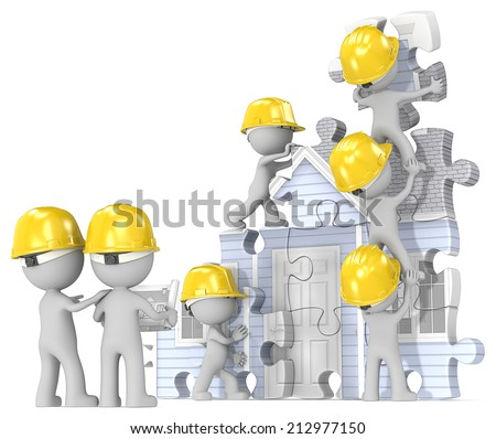 House construction site. Dude the builders x 7 building abstract puzzle house from blueprint. - stock photo
