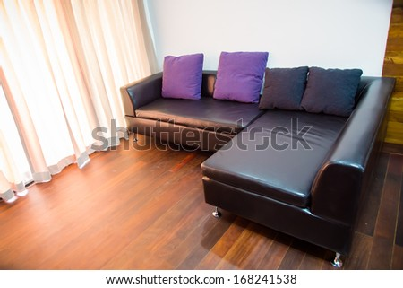 house - couch on hallway at a modern house - stock photo