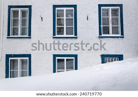 House covered by snow after blizzard. Winter. Old Quebec city, Canada. - stock photo