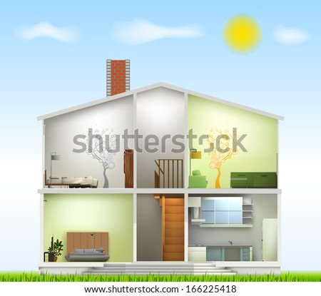 House cut with interiors on against the sky - stock photo