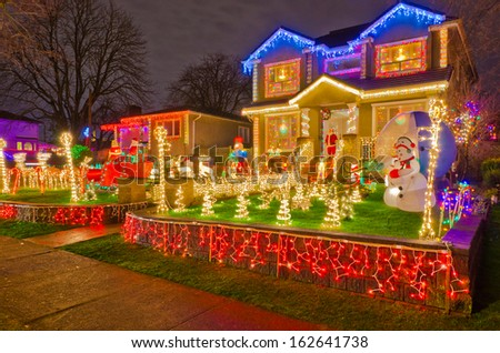 house decorated and lighted for christmas at night at vancouver canada - Lighted Christmas Houses