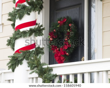 House decorated for the winter holidays. - stock photo