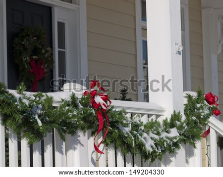 House decorated for winter holidays. - stock photo