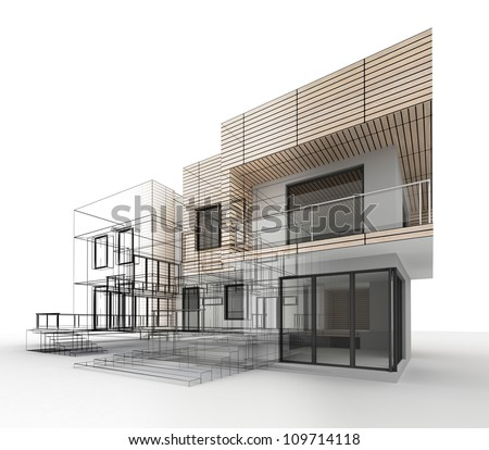 House design progress, architecture drawing and visualization - stock photo