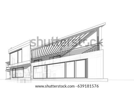 House Design Sketch 3d Illustration