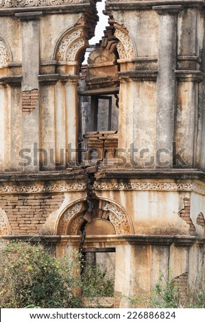 House destroyed by an earthquake, Myanmar, Burma. - stock photo