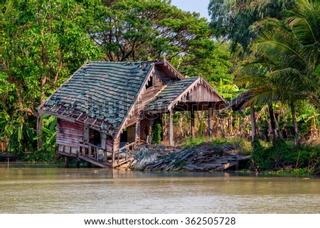 House destroyes by flood in tropical country