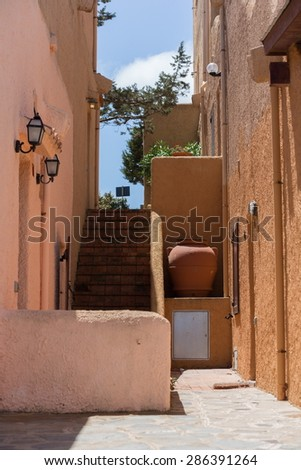 house detail with moon light - stock photo