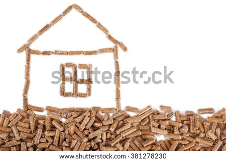 House drawn of pellets on left side isolated - stock photo