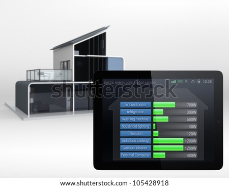 house energy consumption visualized in a tablet interface. - stock photo