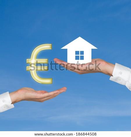 House, euro, exchange. - stock photo